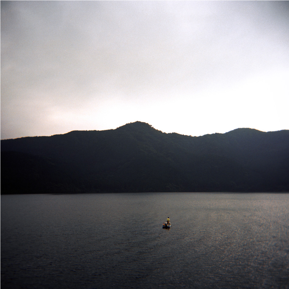 Untitled (Man in Boat on Hakone Lake), 36 x 36cm
