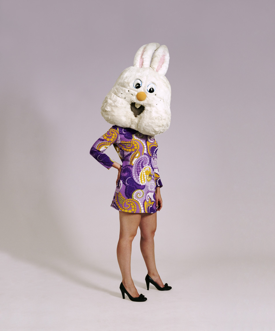 Rabbit in a Purple Mod Dress, 55 x 65cm