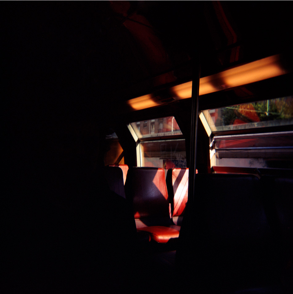Untitled (Red Train Seats), 36 x 36cm